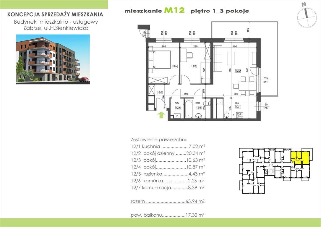 Mieszkanie trzypokojowe na sprzedaż Zabrze, Centrum, Sienkiewicza 15  63m2 Foto 1