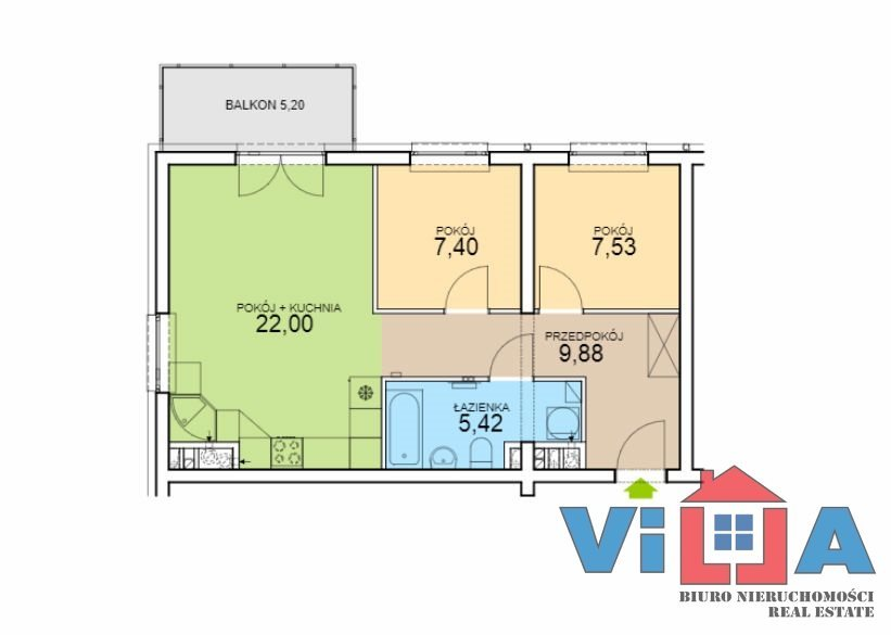 Mieszkanie trzypokojowe na sprzedaż Zielona Góra, os. Czarkowo  52m2 Foto 2