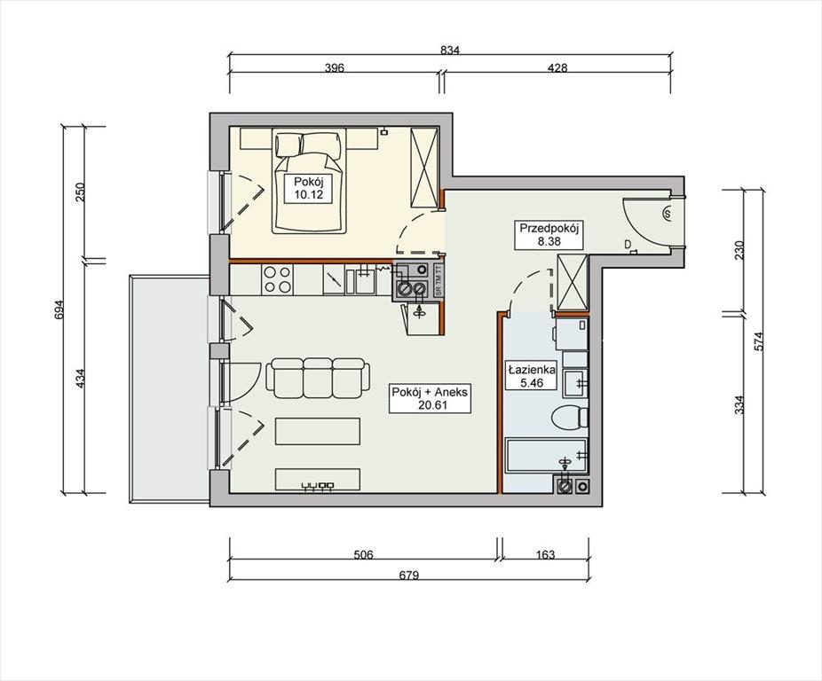 Mieszkanie dwupokojowe na sprzedaż Wrocław, Wojnów  44m2 Foto 3