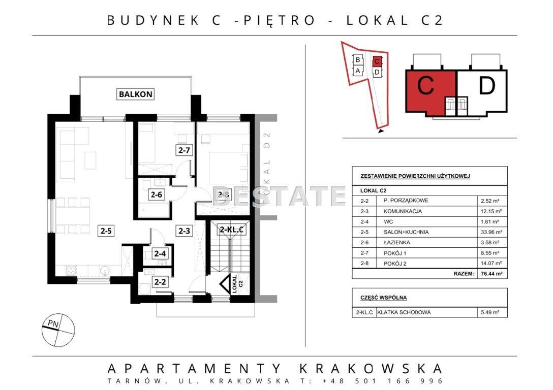 Mieszkanie trzypokojowe na sprzedaż Tarnów  76m2 Foto 3