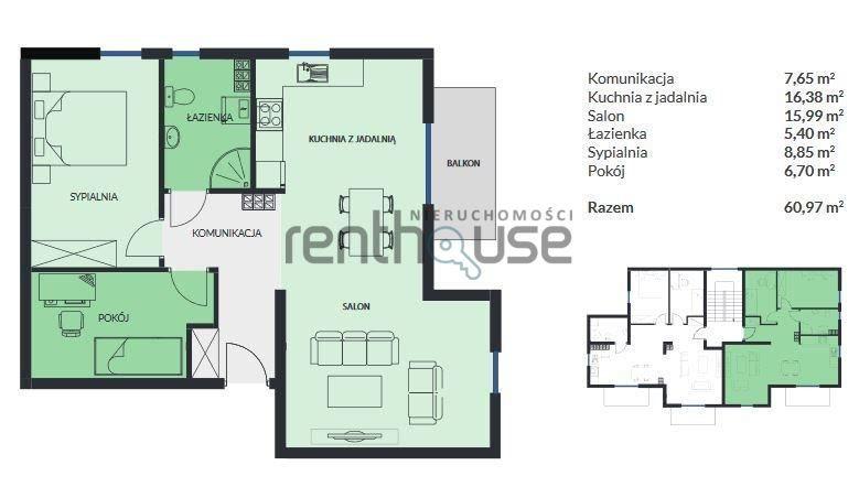 Mieszkanie trzypokojowe na sprzedaż Bielsko-Biała  61m2 Foto 5