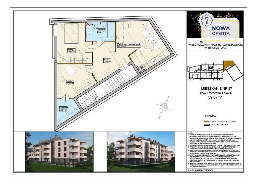 Mieszkanie trzypokojowe na sprzedaż Białystok, Centrum, Warszawska  60m2 Foto 1