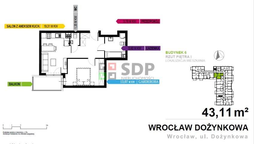 Mieszkanie dwupokojowe na sprzedaż Wrocław, Krzyki, Dożynkowa  43m2 Foto 1