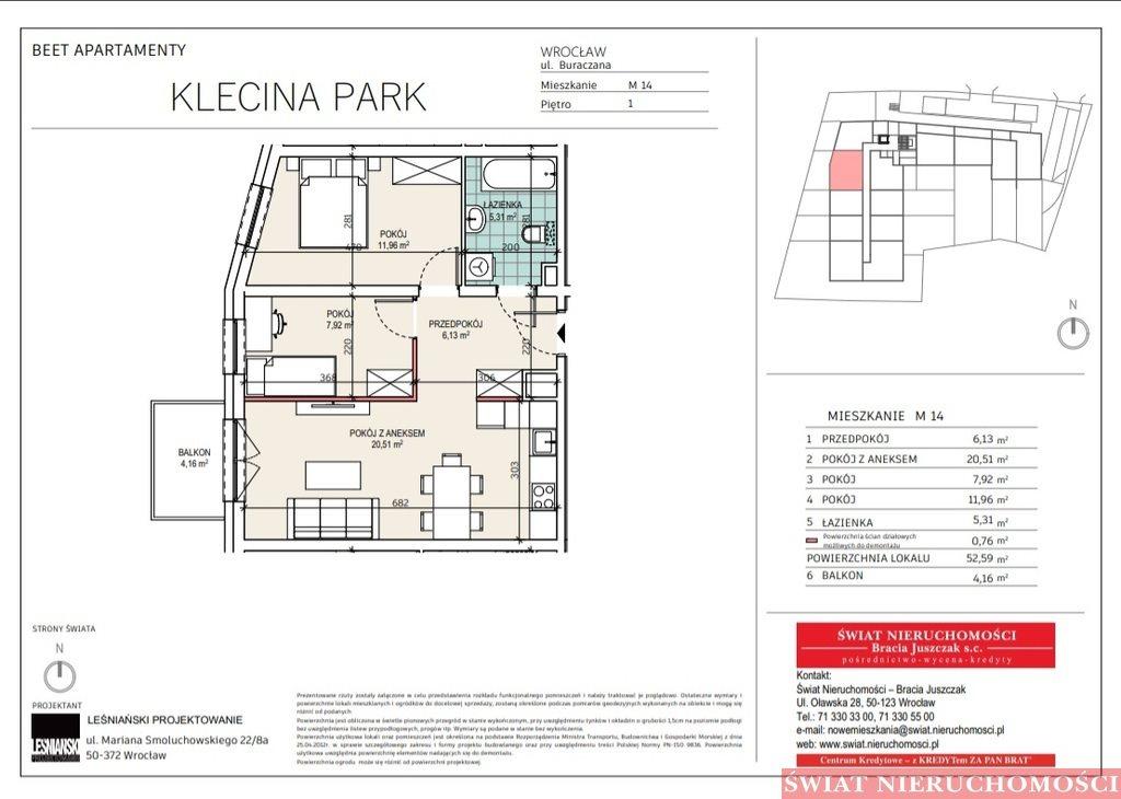 Mieszkanie trzypokojowe na sprzedaż Wrocław, Krzyki, Buraczana  53m2 Foto 2