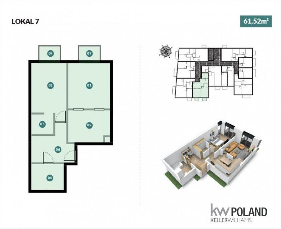 Mieszkanie dwupokojowe na sprzedaż Poznań, Górczyn, Romana Dmowskiego  62m2 Foto 2