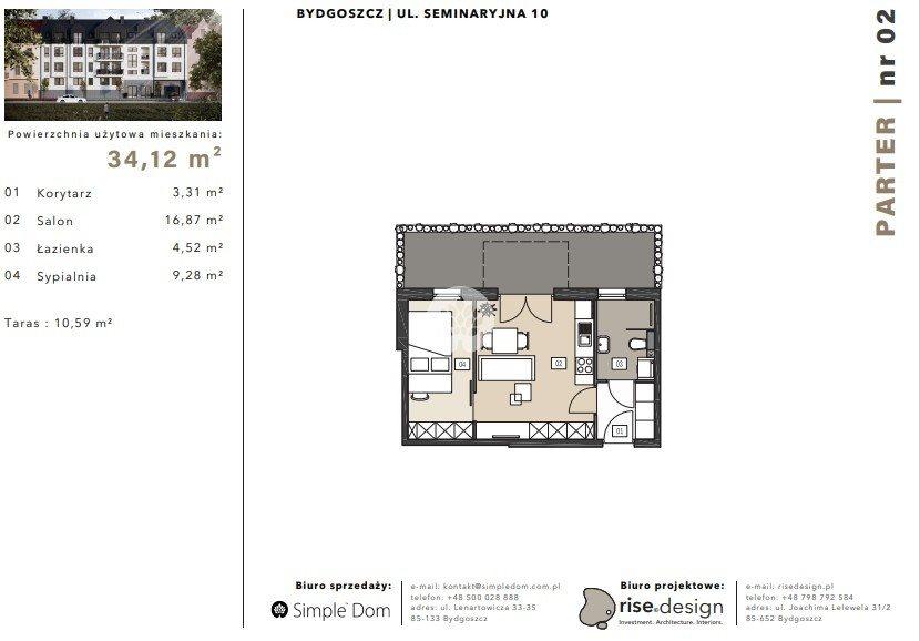 Mieszkanie dwupokojowe na sprzedaż Bydgoszcz, Błonie, Seminaryjna  34m2 Foto 1