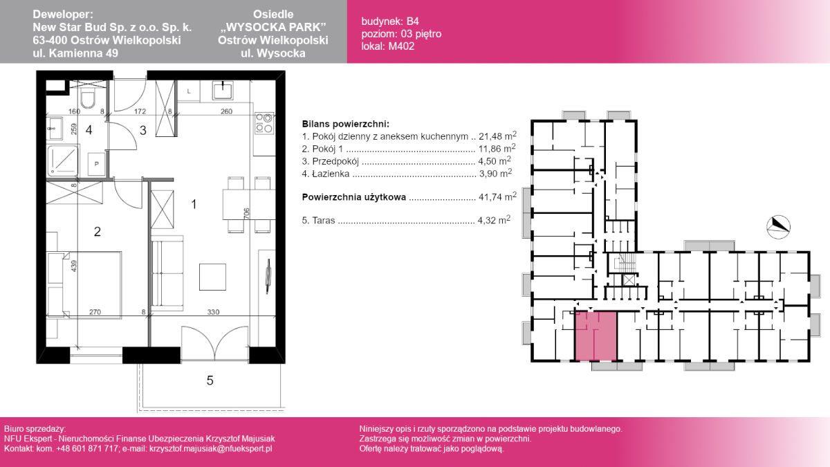 Mieszkanie dwupokojowe na sprzedaż Ostrów Wielkopolski, Wysocka  42m2 Foto 1