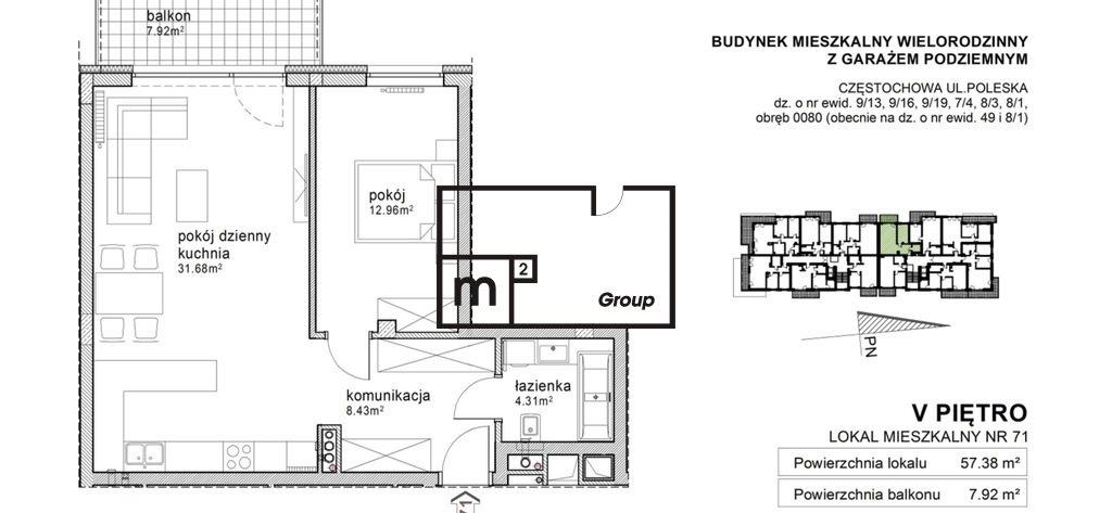 Mieszkanie dwupokojowe na sprzedaż Częstochowa, Parkitka  57m2 Foto 12