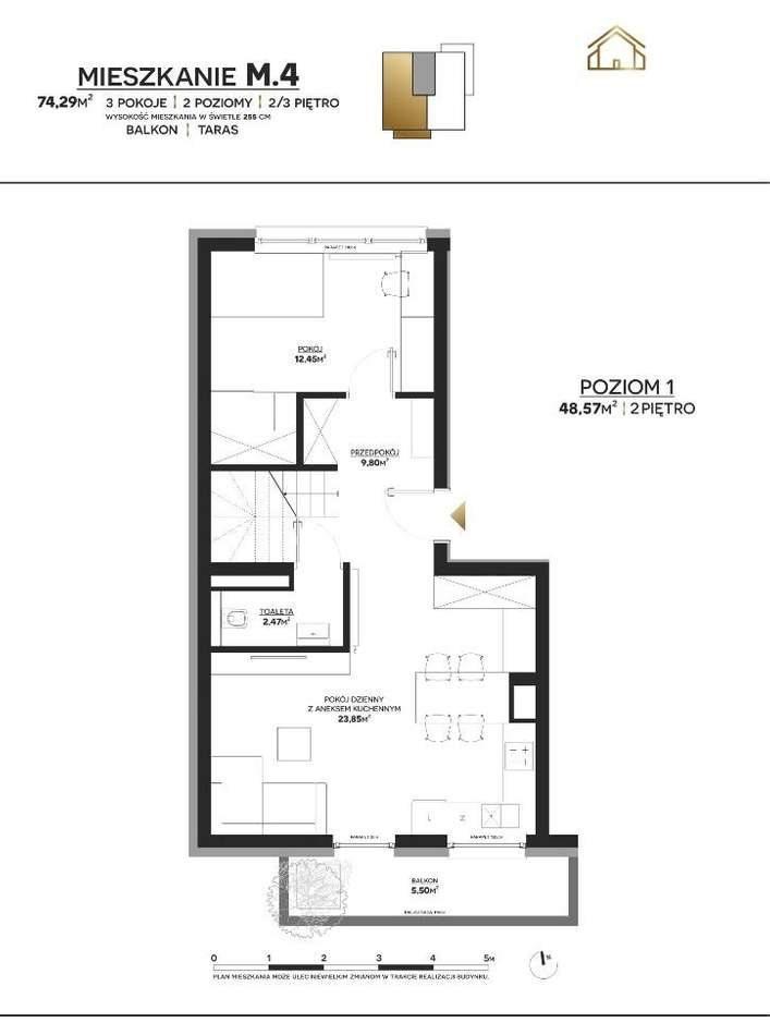 Mieszkanie trzypokojowe na sprzedaż Polkowice  74m2 Foto 1