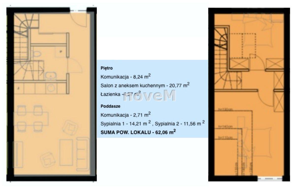 Mieszkanie trzypokojowe na sprzedaż Nowy Targ  62m2 Foto 2