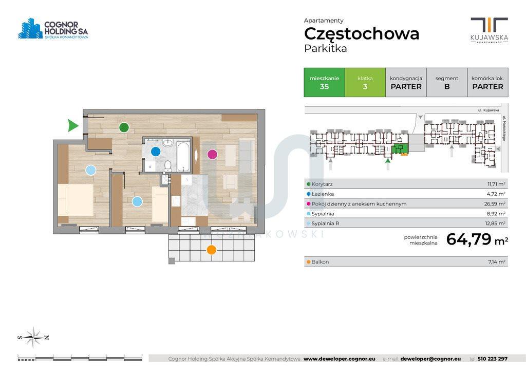 Mieszkanie trzypokojowe na sprzedaż Częstochowa  65m2 Foto 2