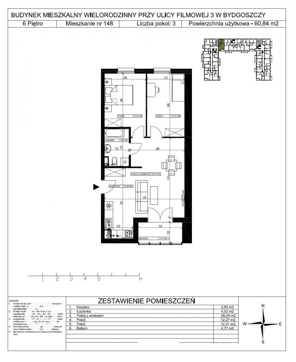 Mieszkanie trzypokojowe na sprzedaż Bydgoszcz, Bartodzieje Małe, Filmowa  61m2 Foto 5