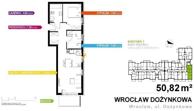 Mieszkanie trzypokojowe na sprzedaż Wrocław, Dożynkowa  51m2 Foto 1