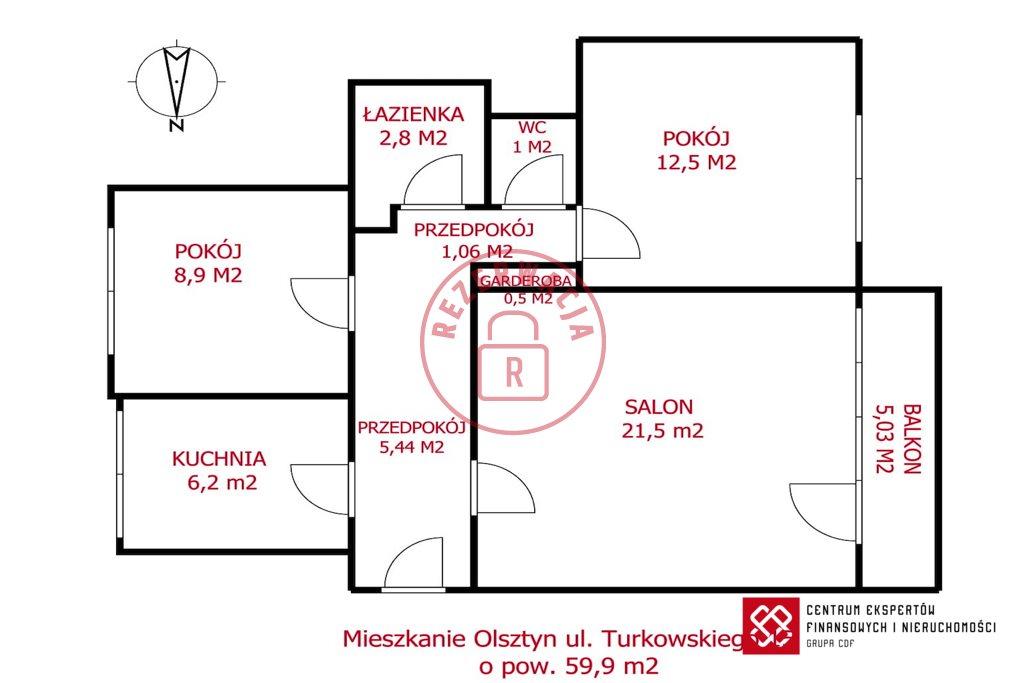 Mieszkanie trzypokojowe na sprzedaż Olsztyn  60m2 Foto 7