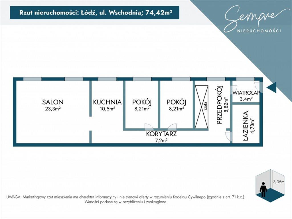 Mieszkanie trzypokojowe na sprzedaż Łódź, Śródmieście, Wschodnia  74m2 Foto 6