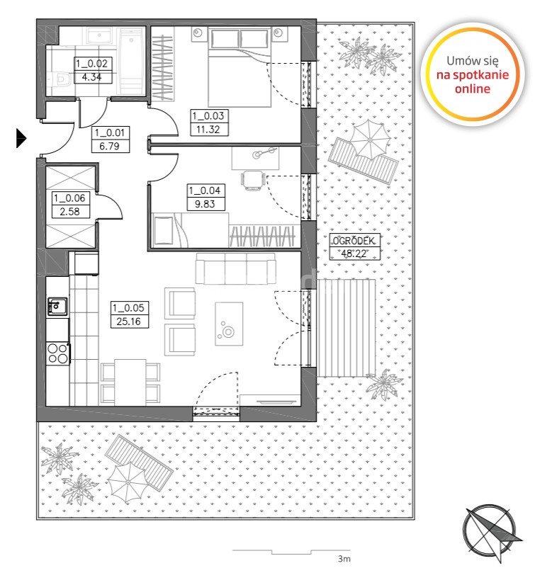 Mieszkanie trzypokojowe na sprzedaż Rumia  60m2 Foto 3