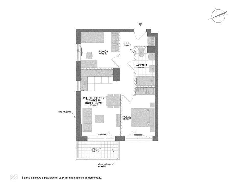 Mieszkanie trzypokojowe na sprzedaż Rumia, Janowo  56m2 Foto 7