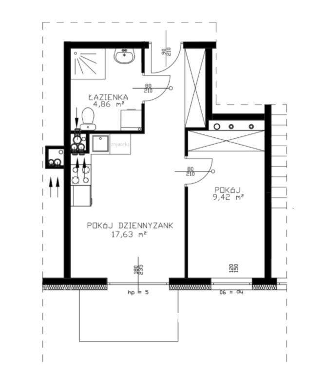 Mieszkanie dwupokojowe na sprzedaż Niemcz  35m2 Foto 6