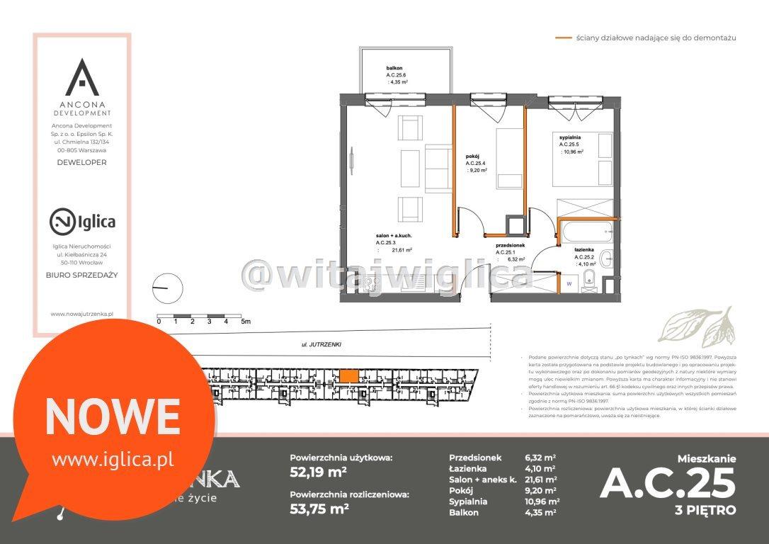 Mieszkanie trzypokojowe na sprzedaż Wrocław, Krzyki, Klecina, Jutrzenki  52m2 Foto 1