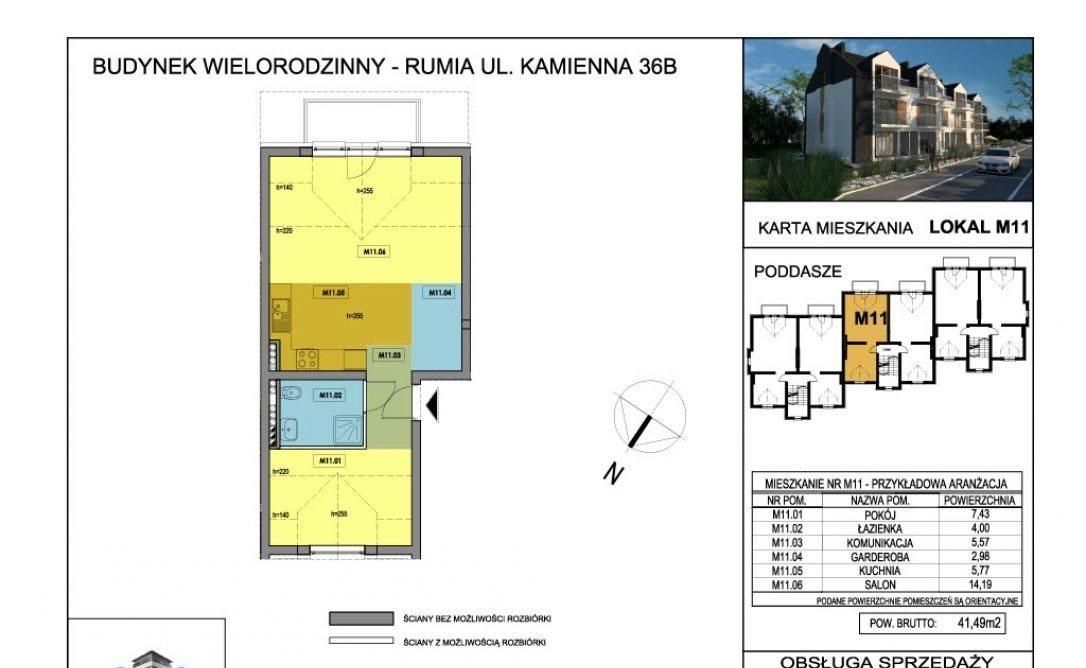 Mieszkanie dwupokojowe na sprzedaż Rumia, Kamienna 36B  48m2 Foto 3