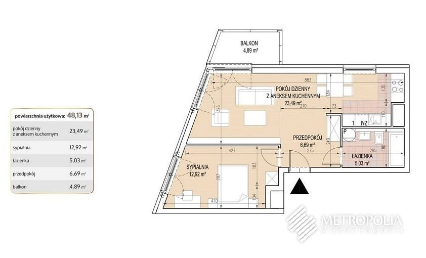 Mieszkanie dwupokojowe na sprzedaż Kraków, Łagiewniki-Borek Fałęcki, Osiedle Cegielniana  48m2 Foto 2