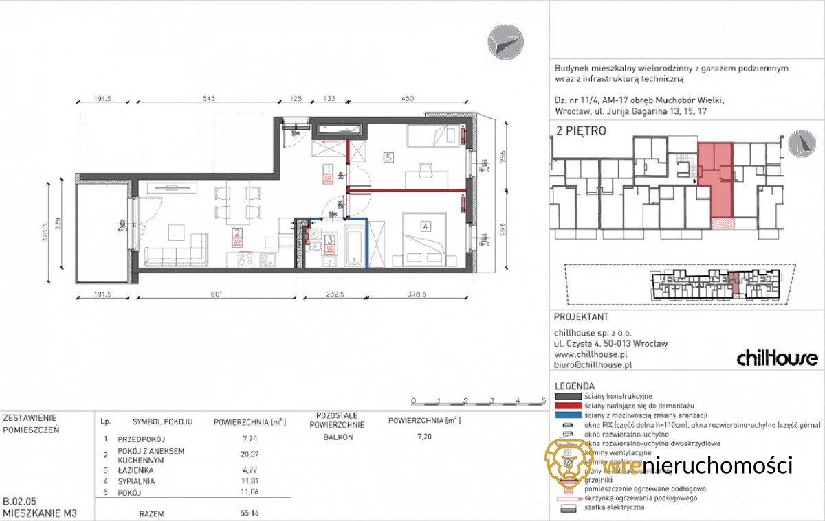 Mieszkanie trzypokojowe na sprzedaż Wrocław, Muchobór Wielki, Jurija Gagarina  55m2 Foto 7