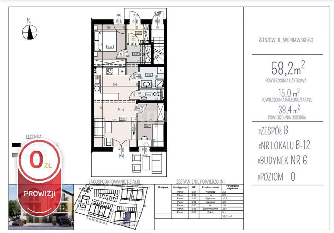 Mieszkanie trzypokojowe na sprzedaż Rzeszów, Henryka Wieniawskiego  58m2 Foto 5
