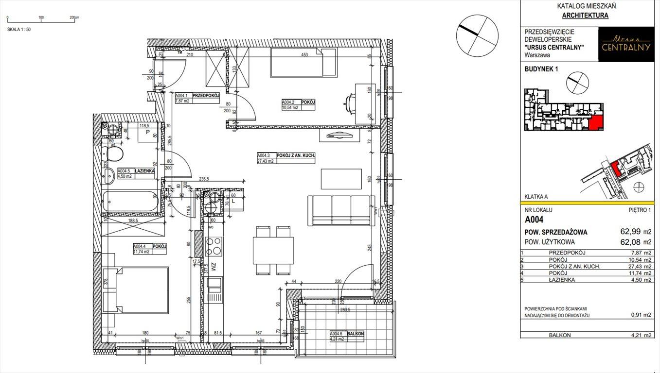 Mieszkanie trzypokojowe na sprzedaż Warszawa, Ursus, Gierdziejewskiego 23  63m2 Foto 1