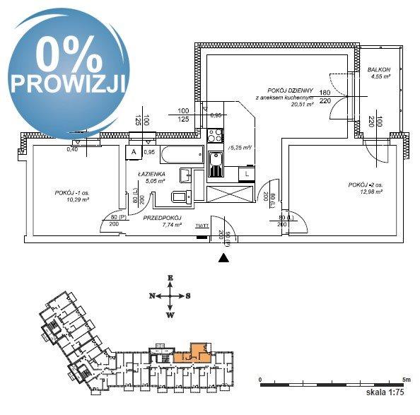 Mieszkanie trzypokojowe na sprzedaż Lublin, Dziesiąta  57m2 Foto 2