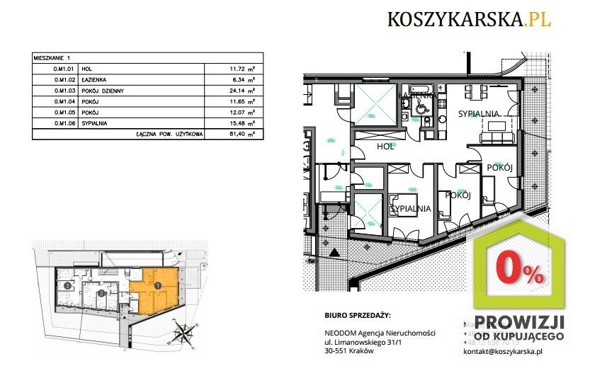Mieszkanie czteropokojowe  na sprzedaż Kraków, Podgórze, Płaszów, Koszykarska  81m2 Foto 5