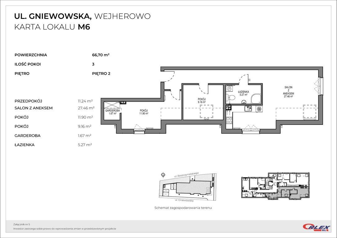 Mieszkanie trzypokojowe na sprzedaż Wejherowo, GNIEWOWSKA 30  67m2 Foto 3