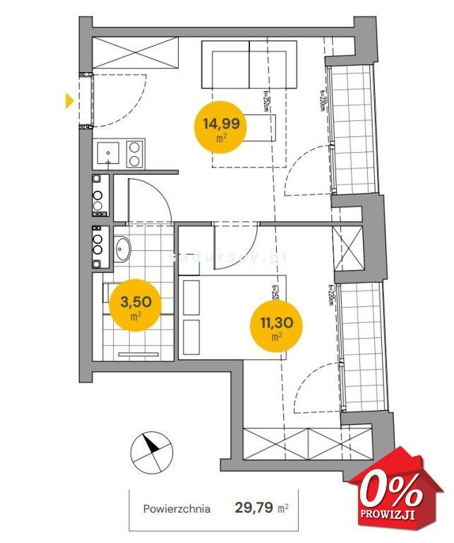 Mieszkanie dwupokojowe na sprzedaż Kraków, Stare Miasto, Stare Miasto, Wita Stwosza  30m2 Foto 3