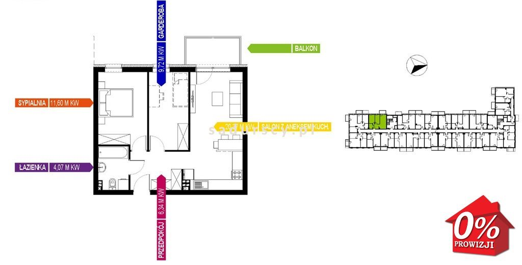 Mieszkanie dwupokojowe na sprzedaż Kraków, Bieżanów-Prokocim, Osiedle Złocień, Osiedle Złocień  52m2 Foto 3
