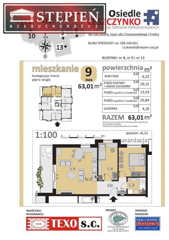 Mieszkanie trzypokojowe na sprzedaż Leszno, Leszczynko, Chociszewskiego, Dożynkowa  63m2 Foto 4