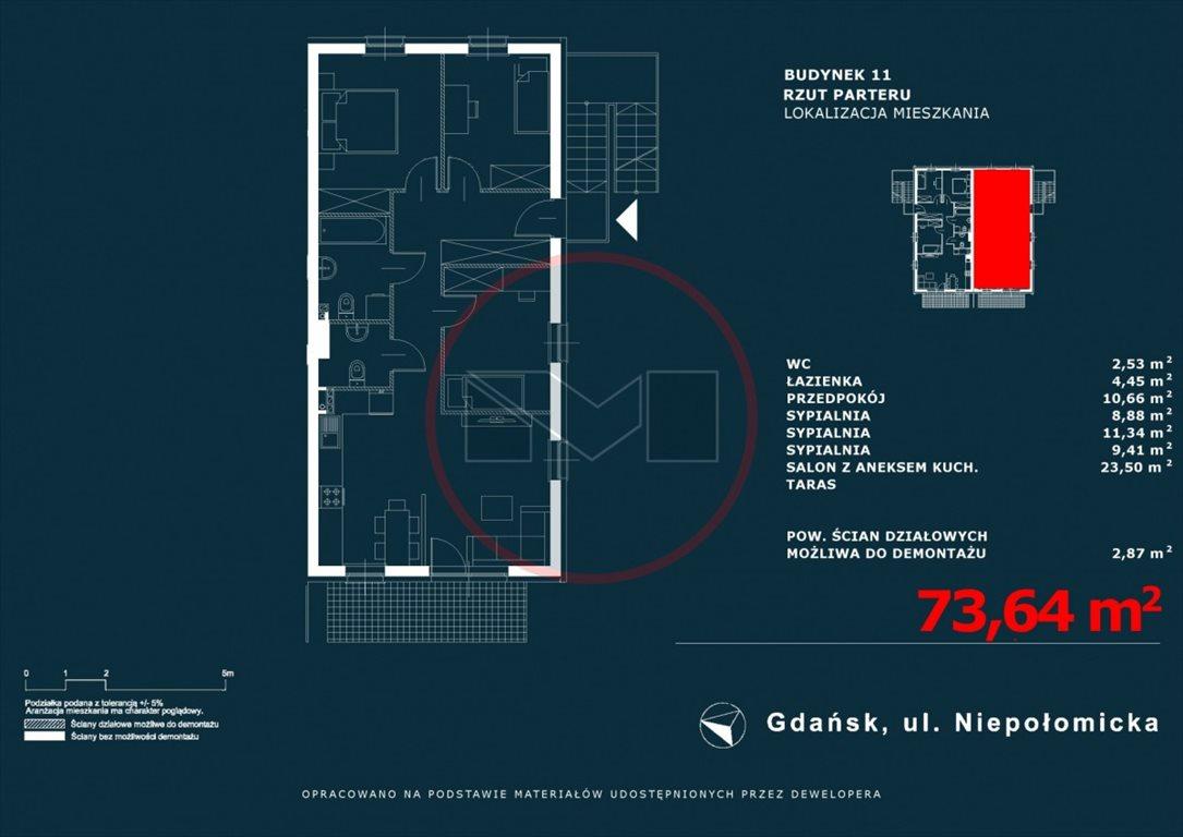 Mieszkanie czteropokojowe  na sprzedaż Gdańsk, Niepołomicka  74m2 Foto 1