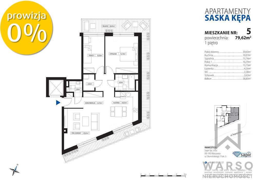 Mieszkanie trzypokojowe na sprzedaż Warszawa, Praga-Południe, Saska Kępa, Argentyńska  80m2 Foto 5