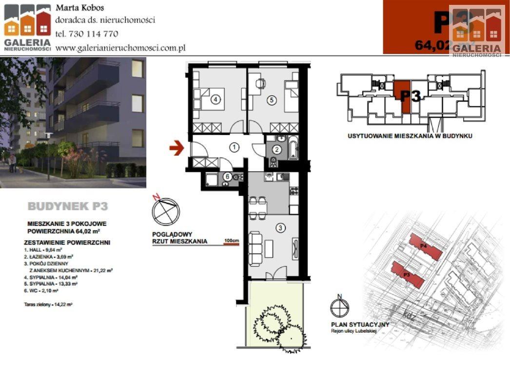 Mieszkanie trzypokojowe na sprzedaż Rzeszów, Staromieście, Lubelska  64m2 Foto 1