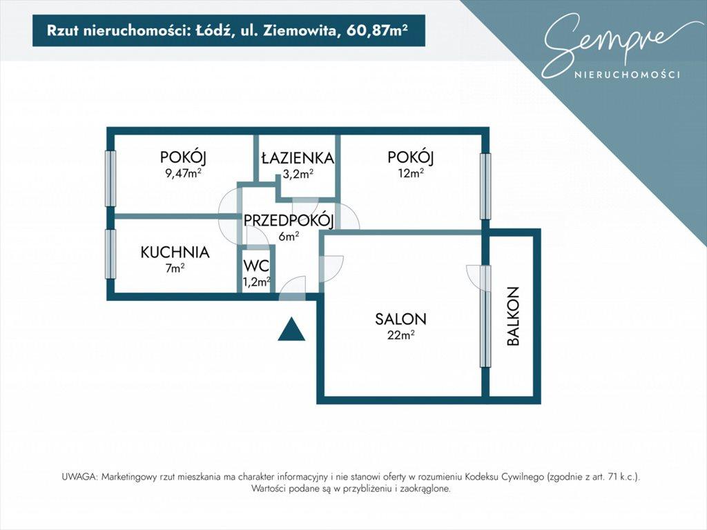 Mieszkanie trzypokojowe na sprzedaż Łódź, Widzew, Ziemowita  61m2 Foto 3