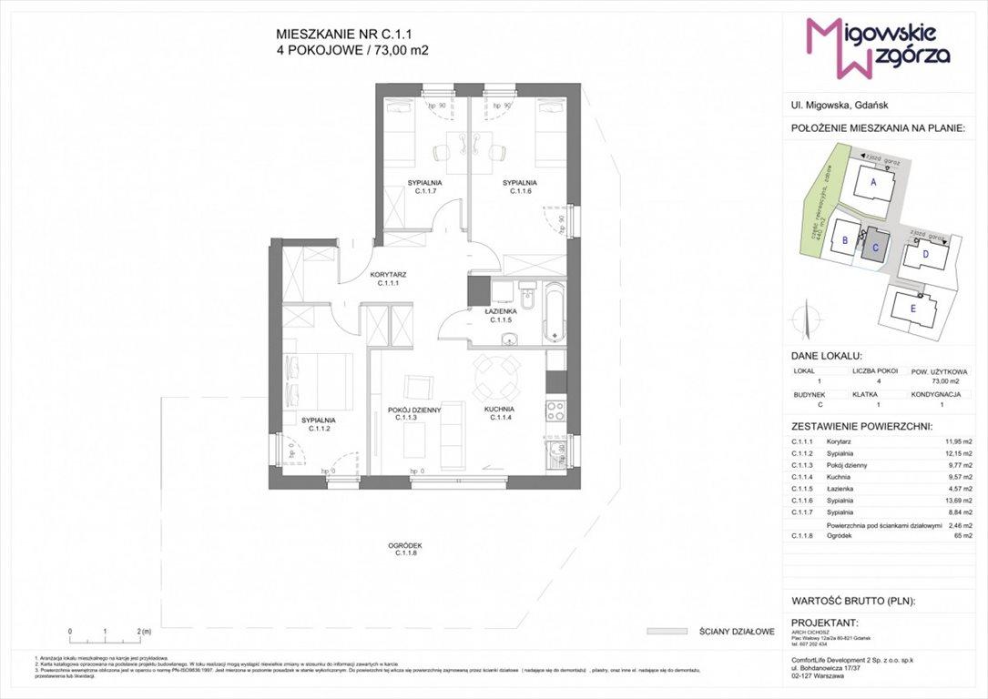 Mieszkanie czteropokojowe  na sprzedaż Gdańsk, Morena, Migowska  73m2 Foto 3
