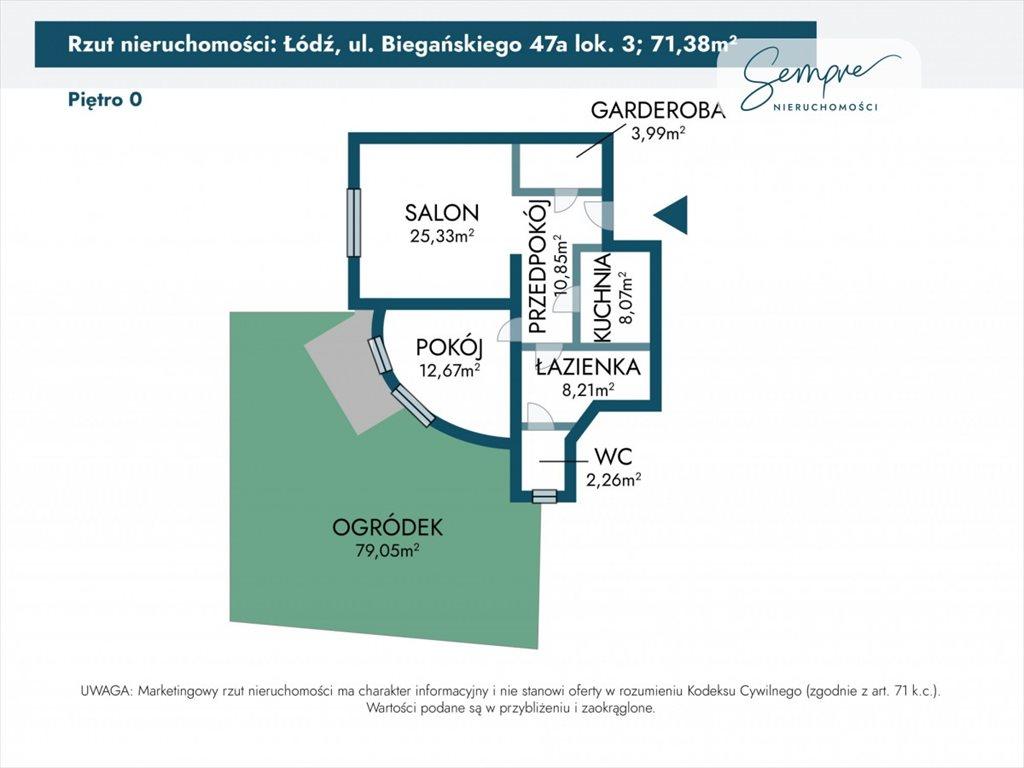 Mieszkanie dwupokojowe na sprzedaż Łódź, Julianów, dr. Władysława Biegańskiego  71m2 Foto 2