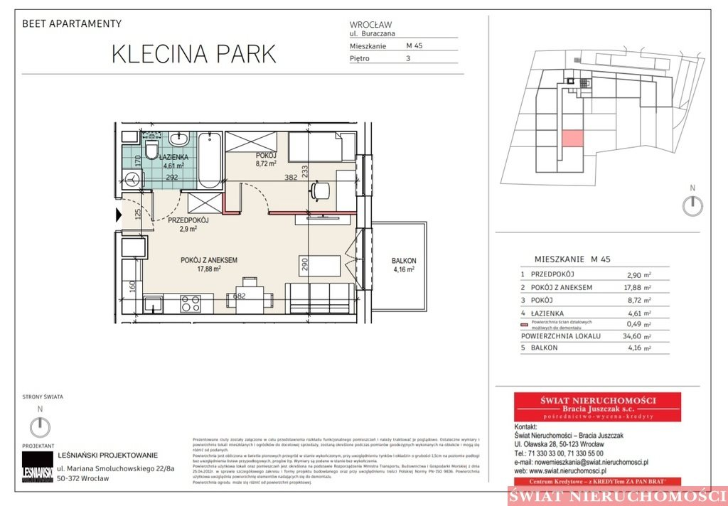 Mieszkanie dwupokojowe na sprzedaż Wrocław, Krzyki, Buraczana  35m2 Foto 2