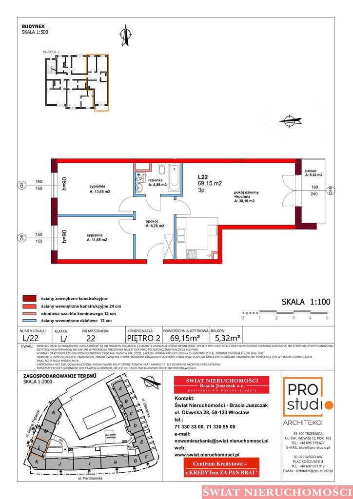Mieszkanie trzypokojowe na sprzedaż Trzebnica  69m2 Foto 2