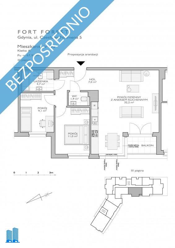 Mieszkanie trzypokojowe na sprzedaż Gdynia, Chwarzno-Wiczlino, Niemena 5A  68m2 Foto 11
