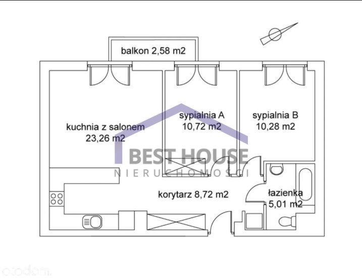 Mieszkanie trzypokojowe na sprzedaż Wrocław, Krzyki, Krzyki, Wojszyce ok. ul. Smardzowskiej, 3 pok, balkon, miejsce garażowe  58m2 Foto 12