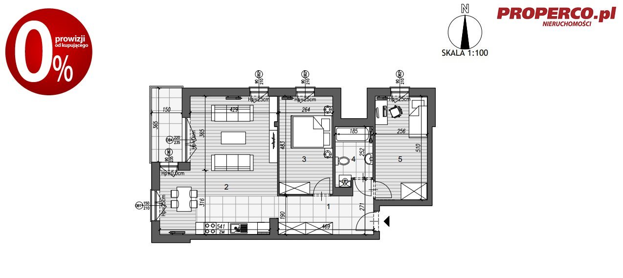 Mieszkanie trzypokojowe na sprzedaż Kielce, Szydłówek, Klonowa  74m2 Foto 4