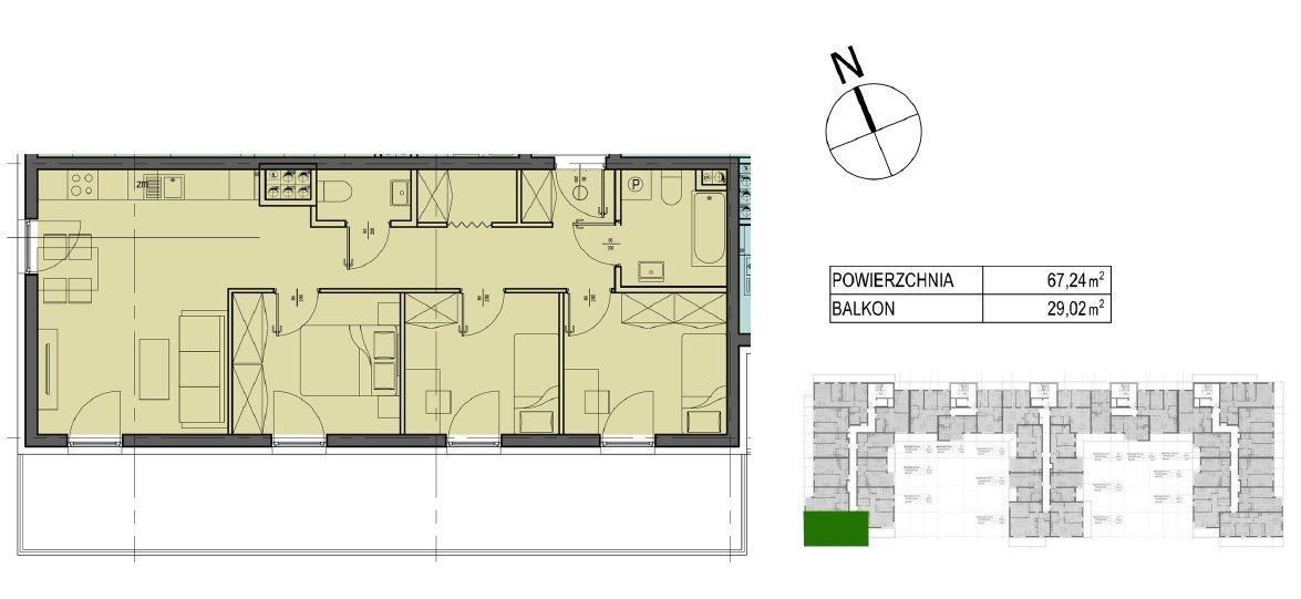 Mieszkanie czteropokojowe  na sprzedaż Kielce, Oskara Kolberga  67m2 Foto 4