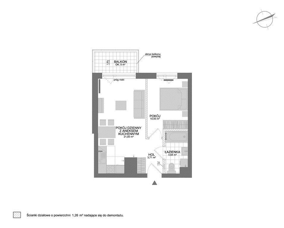 Mieszkanie dwupokojowe na sprzedaż Rumia, Janowo  42m2 Foto 7