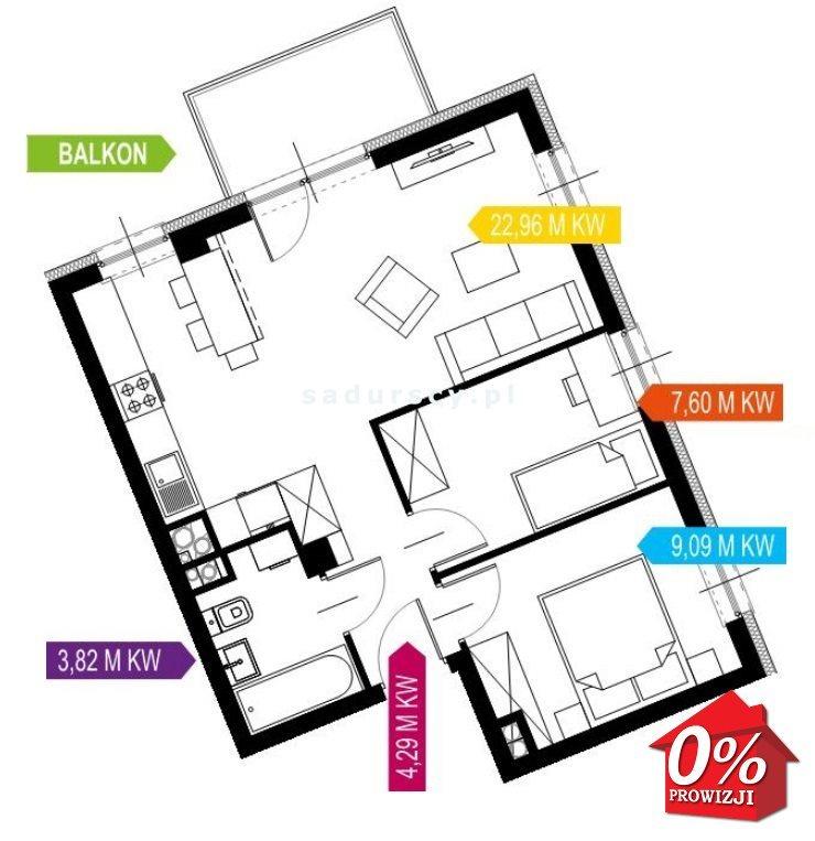 Mieszkanie trzypokojowe na sprzedaż Kraków, Prądnik Biały, Prądnik Biały, Kazimierza Wyki - okolice  48m2 Foto 3