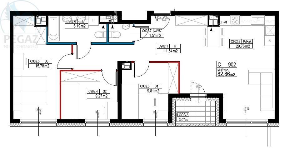 Mieszkanie czteropokojowe  na sprzedaż Poznań, Grunwald, Marcelin, Marcelin  85m2 Foto 2