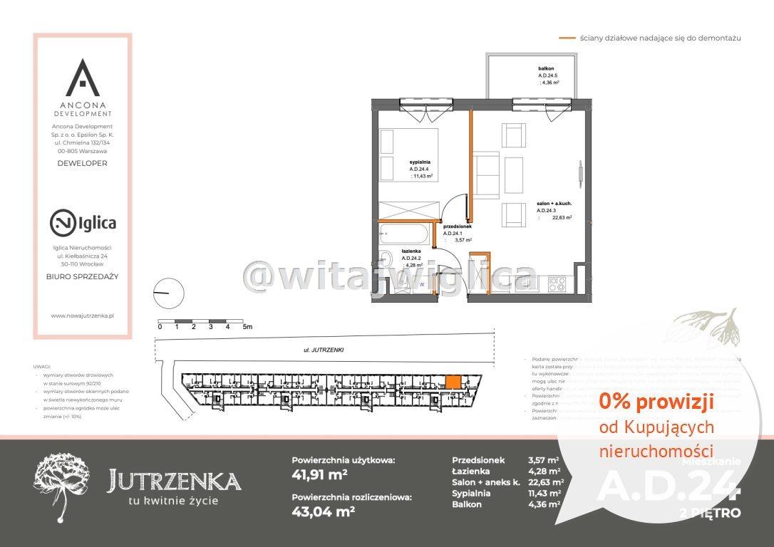 Mieszkanie dwupokojowe na sprzedaż Wrocław, Krzyki, Klecina, Jutrzenki  42m2 Foto 2